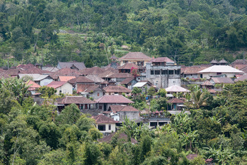 Roofs of houses on the hill. The island of Bali, Indonesia