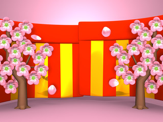 Closeup Of Cherry Blossoms And Red-Gold Curtains On Pink