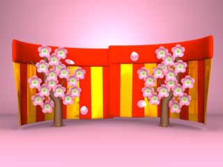 Cherry Blossoms And Red-Gold Curtains On Pink