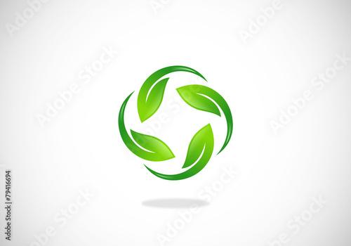 ecology leaf circle vector logo - 79416694