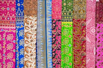 Assortment of colorful sarongs for sale, Bali, Ubud, Indonesia