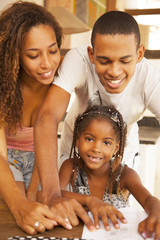 African american family studying