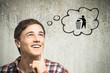 Leinwanddruck Bild - Junger Mann denkt an Recycling