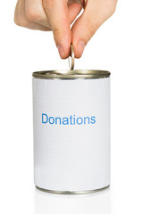 Person Putting Coin In Donation Can