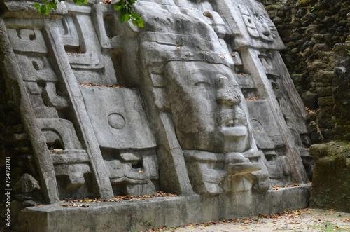 Ancient Mayan Ruins at the Mask Temple in Lamanai, Belize