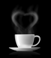 heart shape with hot smoke over hot cup