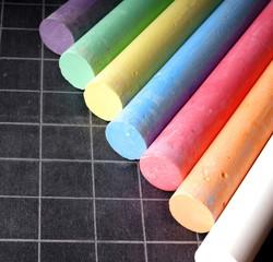 Blackboard and Coloured Chalks