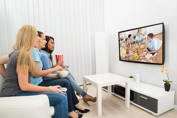 Young Women Watching Movie