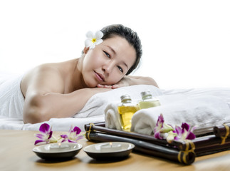 Young adult at spa treatment