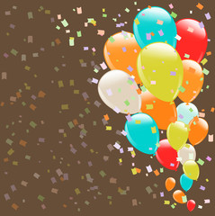 flying colorful balloons as retro background