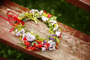 Flower wreath decoration on wood