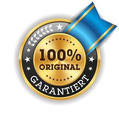 Goldener 100 Prozent Original Siegel Mit Blauer Scherpe