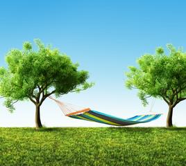 Relaxing on hammock in backyard