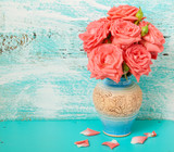Fototapety Flowers beautiful bouquet of roses on vintage background