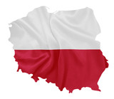 Poland - Waving national flag on map contour with silk texture