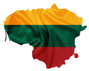 Lithuania - National flag on map contour with silk texture