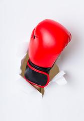 Boxer glove breaking paper