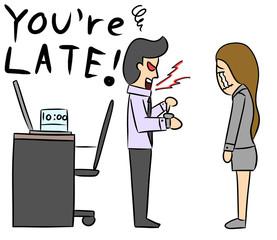 cartoon woman isolate boss late office