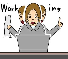 cartoon woman isolate office work busy
