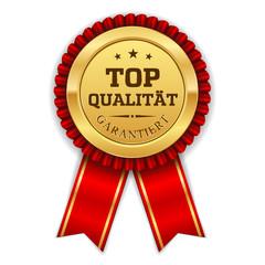 Goldener Top Qualität Siegel Mit Roter Scherpe