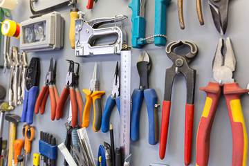 Tools hanging on the board