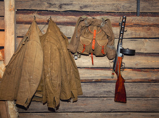 Jacket, backpack, machine gun - retro items WWII