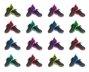 sneakers collage isolated on the white background