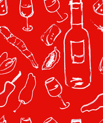 Seamless background pattern of food-themed drawings