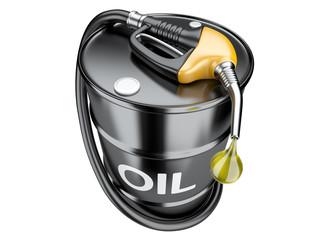 Fuel concept with oil barrel and gas pump nozzle.