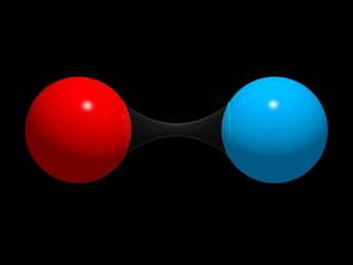 Bond between two particles. Simple molecule