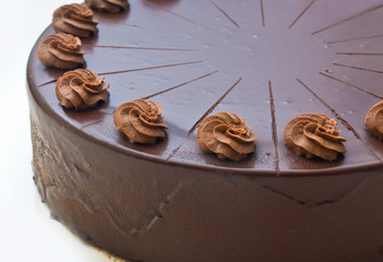 homemade chocolate cake detail