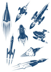 Cartoon spaceships and rockets in space