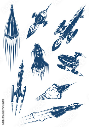 Fototapeta Cartoon spaceships and rockets in space