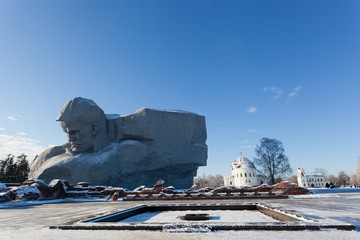 Monument Courage and an eternal flame in Brest fortress, Belarus