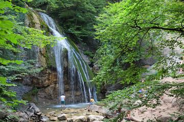 Djur-Djur waterfall on mountain river Ulu-Uzen, Crimea