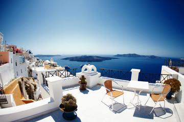 Greece Santorini island panoramic view