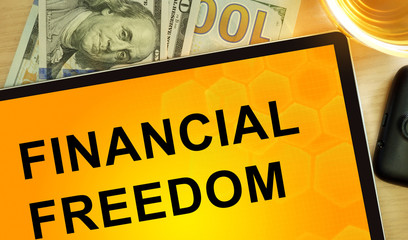Words Financial Freedom  on tablet. Business concept.