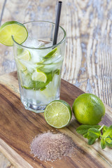Mojito Cocktail on wooden table