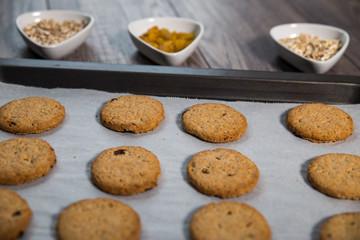 Freshly baked integral biscuits