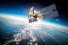 """Постер, картина, фотообои """"Space satellite over the planet earth"""""""