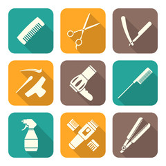 vector hairdresser tools white color flat design icons set