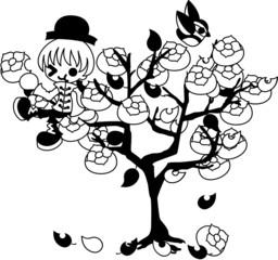 柿の木に登り、柿を食べる少年。