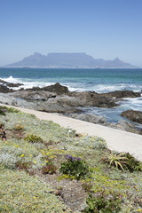 Coastal landscape looking to Table Mountain Cape Town S Africa