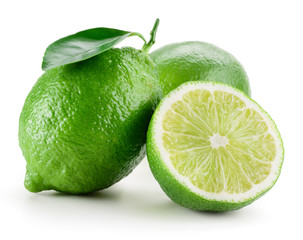 Lime. Group of fruit isolated on white
