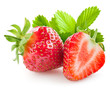 Strawberry and a half on white background