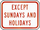 Except Sundays And Holidays US poster