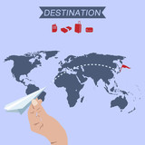 destination paper plane on world map