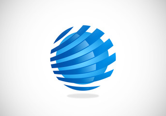 globe sphere technology vector logo