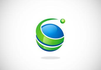 globe sphere swirl vector logo