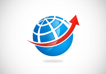 globe world arrow business vector logo